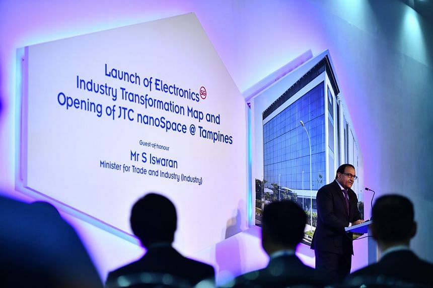 Minister for Trade and Industry S. Iswaran giving the keynote address during the unveiling of the Industry Transformation Map.