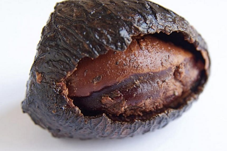 """The raw seed of the kepayang """"fruit"""" or buah keluak (above) has cyanide and is deadly. But when properly cured, the fruit is a culinary miracle."""