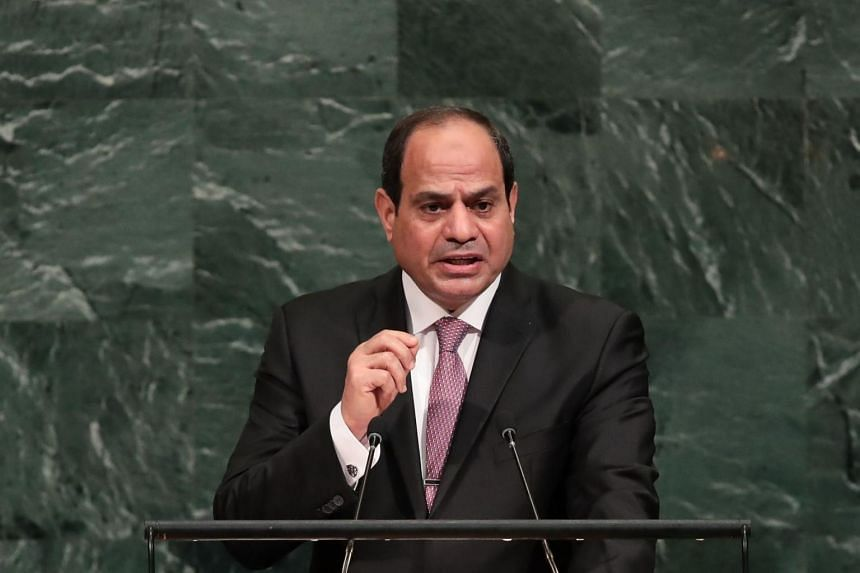 Abdel Fattah al-Sisi addresses the United Nations General Assembly at the UN headquarters.
