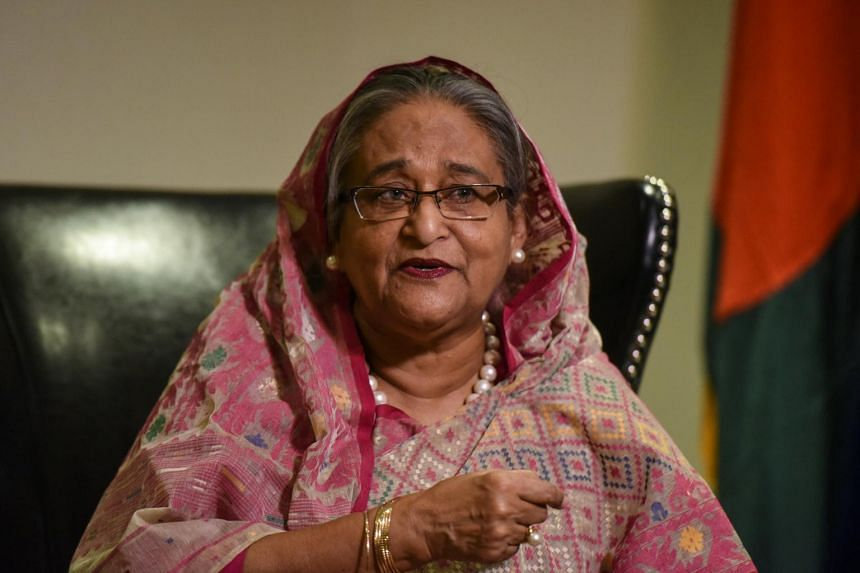 Bangladesh's Prime Minister Sheikh Hasina Wazed speaks with a reporter during the United Nations General Assembly in New York City, on Sept 18, 2017.