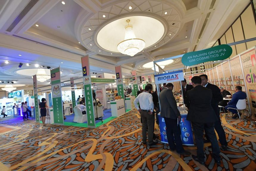 Exhibitors and visitors attending the Halal Expo, on Sept 18, 2017, in Dubai.