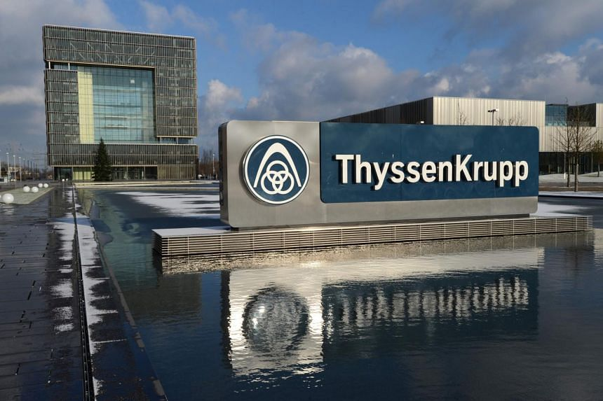 A general view of the headquarters of German heavy industry giant ThyssenKrupp AG in Essen, western Germany.