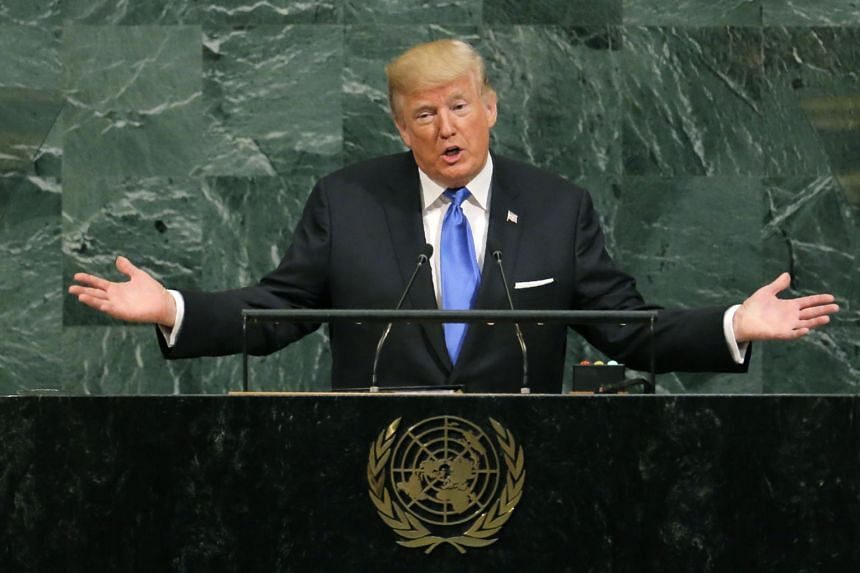 US President Donald Trump addresses the 72nd United Nations General Assembly at UN headquarters in New York, on Sept 19, 2017.