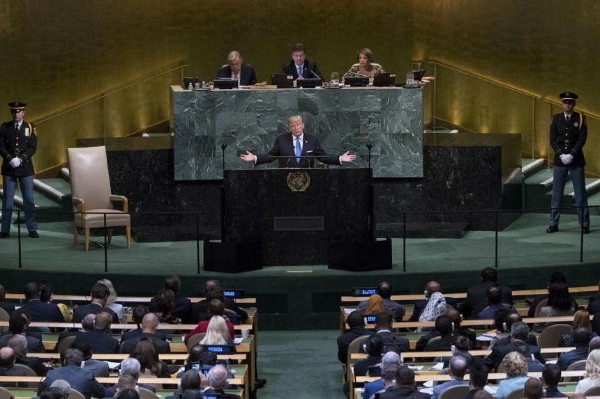 President Donald Trump addresses the United Nations General Assembly at the United Nations headquarters in New York, on sept 19, 2017.