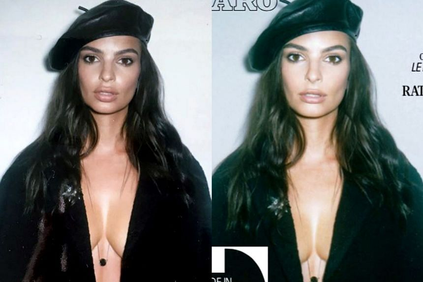 Emily Ratajkowski posted on instagram the original photo (left) and Madame Figaro's cover image to show that her lips and breasts had been altered.