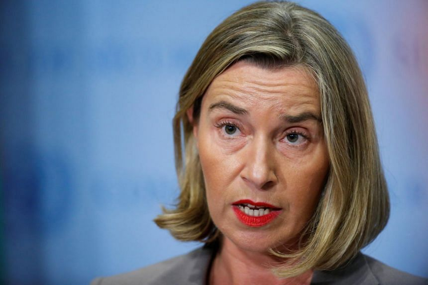 European Union Foreign Affairs Chief Federica Mogherini gives her remarks after attending a meeting of the parties to the Iran nuclear deal during the 72nd United Nations General Assembly.