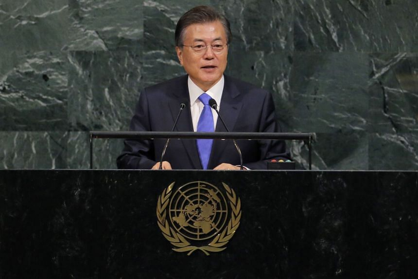 South Korean President Moon Jae-in addresses the UN General Assembly.