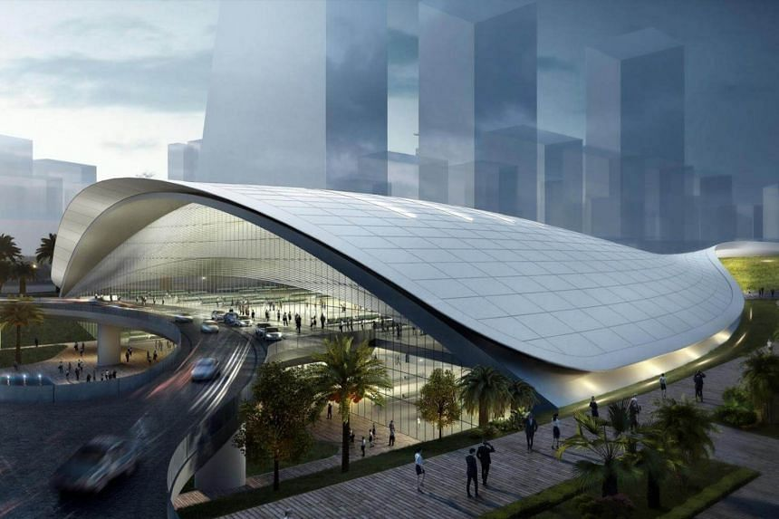Artist impression of the Kuala Lumpur-Singapore High Speed Rail Terminal in Jurong East.