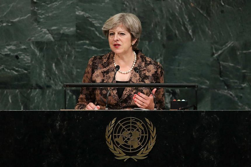 Theresa May, Prime Minister of the United Kingdom, addresses the United Nations General Assembly at UN headquarters.