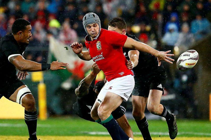 British and Irish Lions' Jonathan Davies in action during a New Zealand All Blacks v British and Irish Lions match.