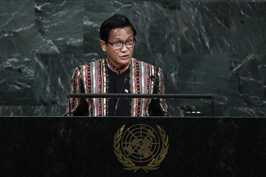Myanmar's Vice President Henry Van Thio addresses the 72nd Session of the United Nations General assembly at the UN headquarters in New York, on Sept 20, 2017.