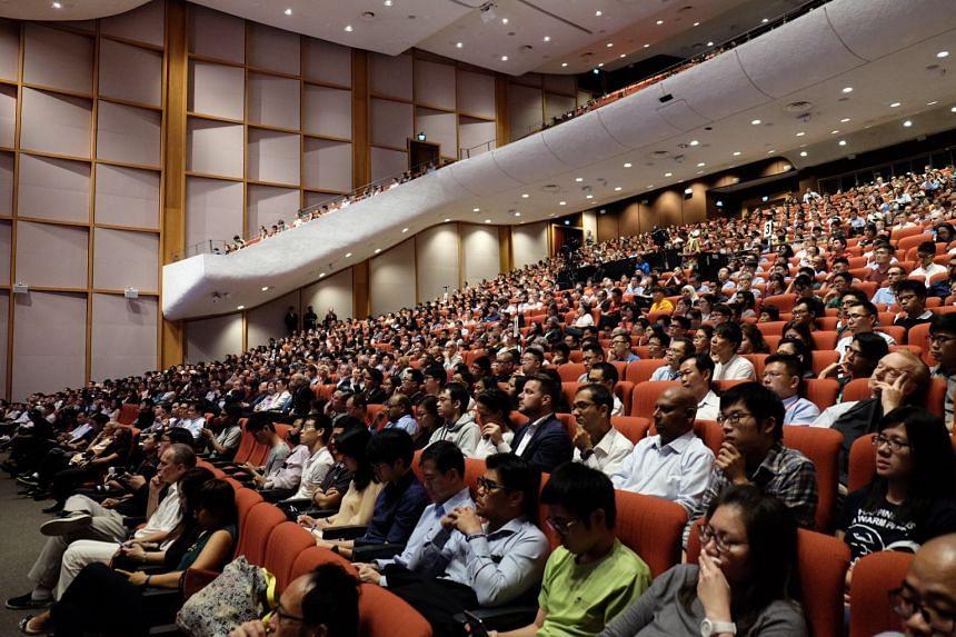 The 1,500-strong audience at the inaugural NTU Majulah Lecture by DPM Tharman Shanmugaratnam.