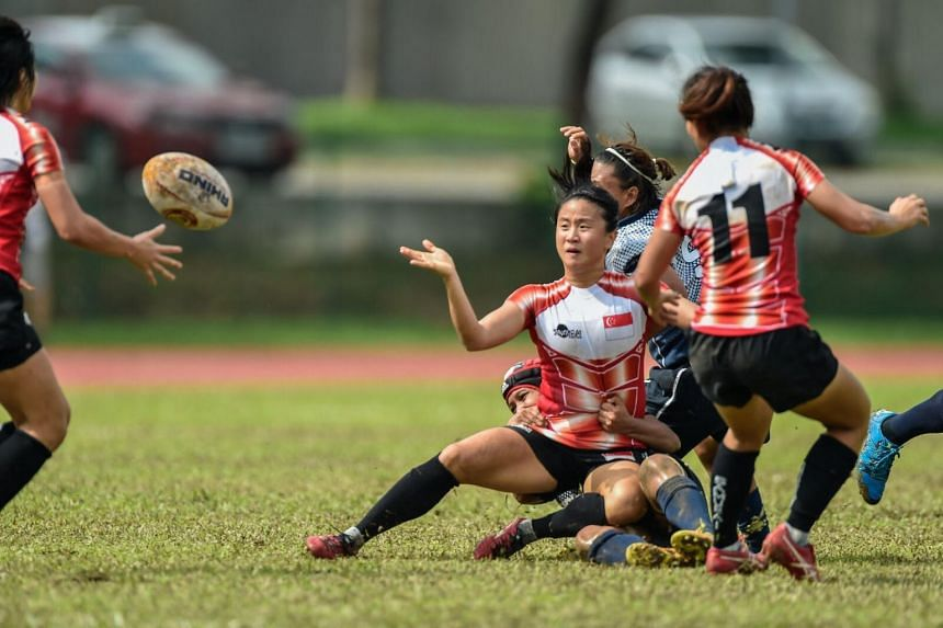 Samantha Teo in action for the Singapore women's team at the South East Asian 7s.