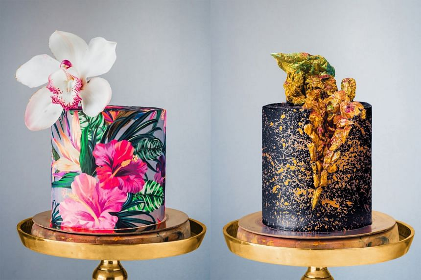 Two of Julian Angel's cakes that will be featured are Tropical Prints (left) and Geode.