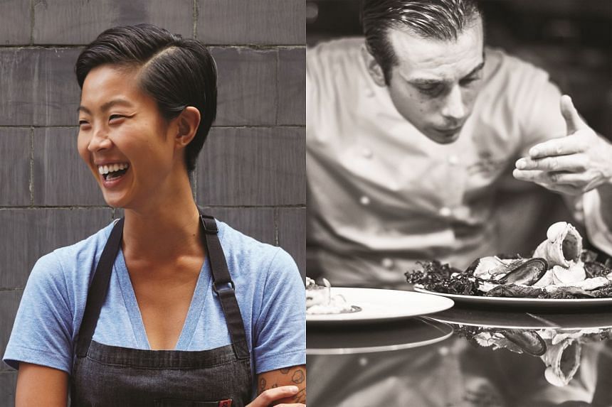 Other chefs to look out for at the festival are Kristen Kish (left) and Florian Favario.
