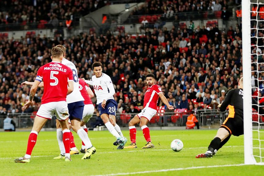 Tottenham midfielder Dele Alli (No. 20) scoring the game's only goal as Spurs saw off a plucky Barnsley side at Wembley on Tuesday. The England midfielder, who plundered his third goal of the season, will be a key man as Spurs battle for silverware o