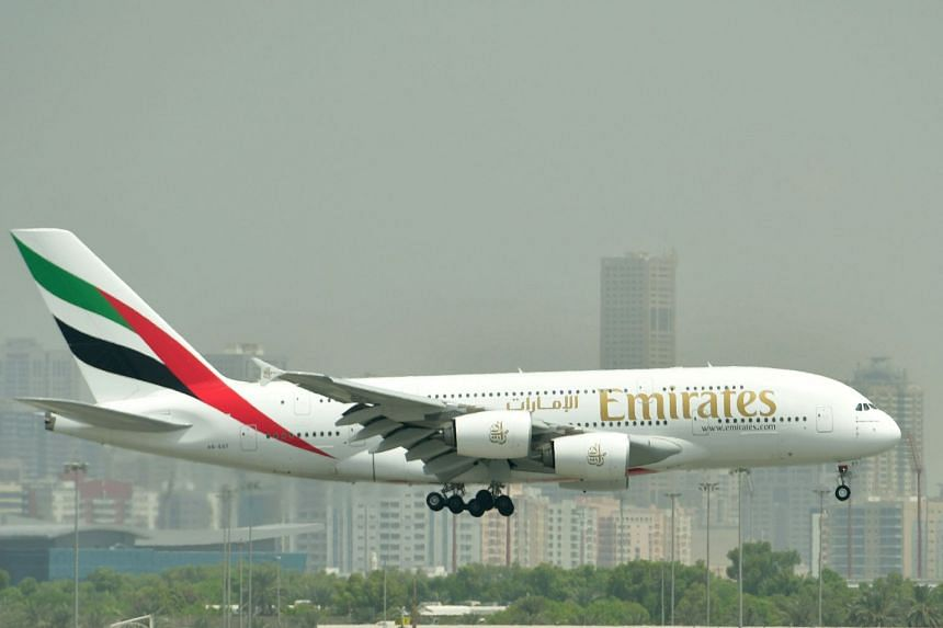 An Emirates A380 landing at Dubai's International Airport in September 2017.