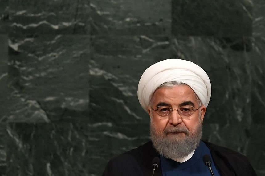Hassan Rouhani addresses the UN General Assembly, Sept 20, 2017.