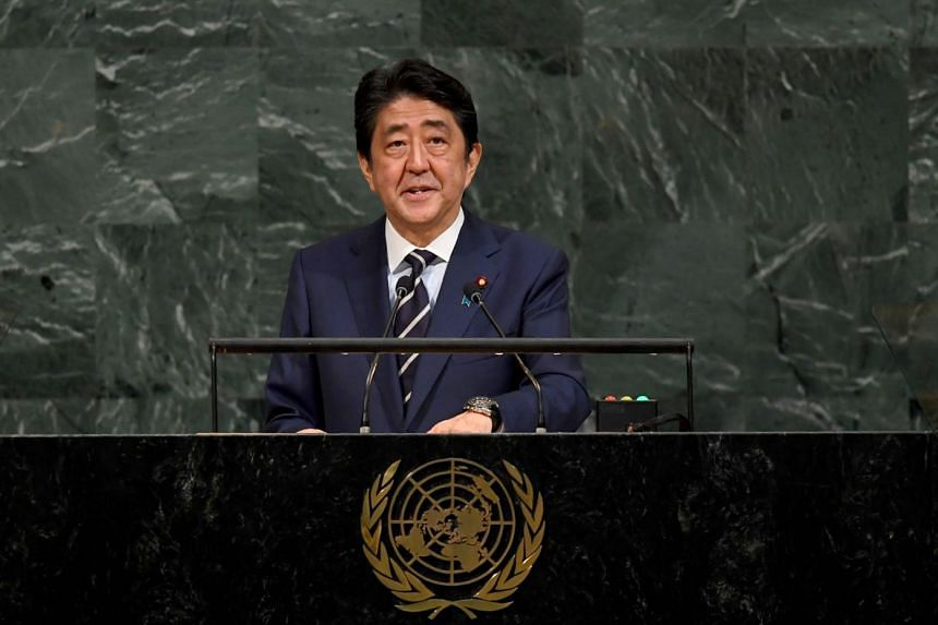 Shinzo Abe addresses the UN General Assembly, Sept 20, 2017.