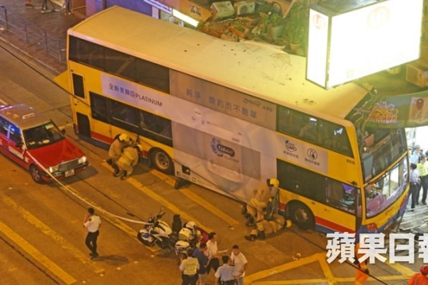 The bus mounted a kerb, killing at least three and injuring more than 20.