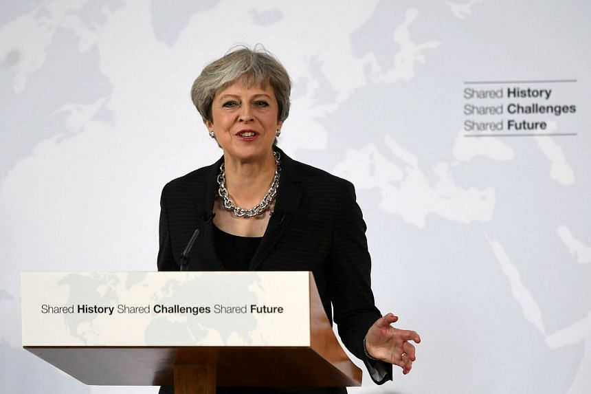 Britain's Prime Minister Theresa May gives a speech in Complesso Santa Maria Novella, Italy on Sept 22, 2017.