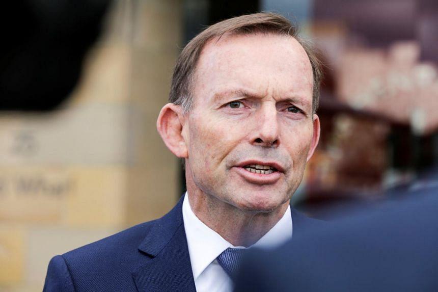 Former Australian prime minister Tony Abbott speaks to the press in Hobart, Australia, on Sept 22, 2017, after an alleged assault on him on Thursday night.