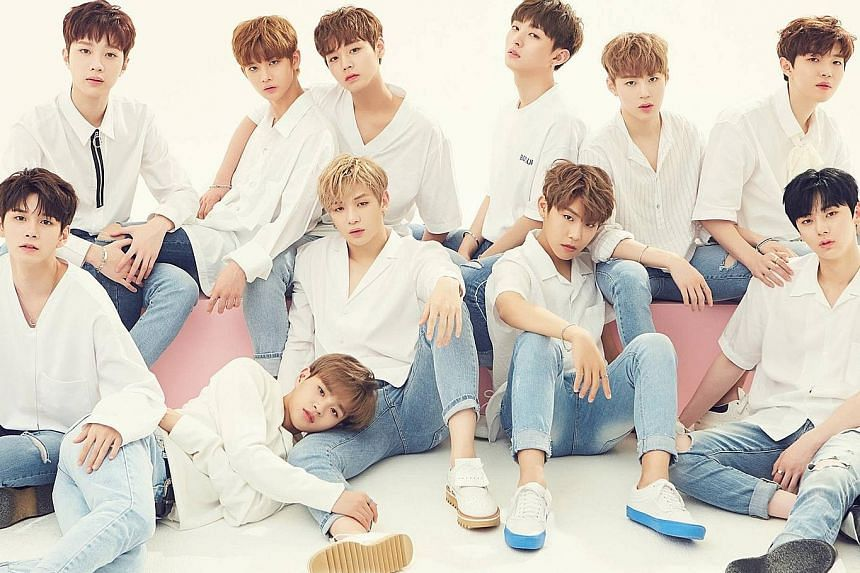 The 11-member K-pop boyband Wanna One (above) were formed during the second season of the reality series Produce 101.