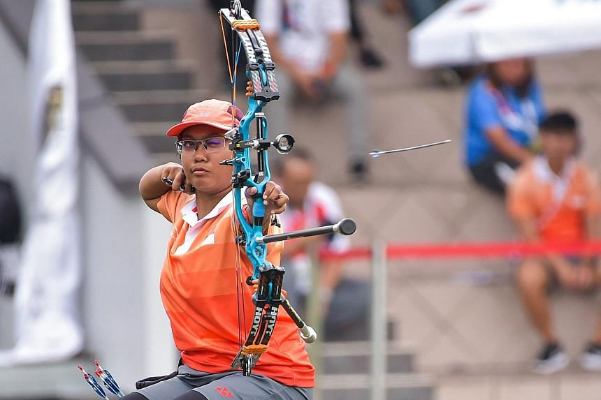 Singapore's Nur Syahidah Alim, 32, defeated Malaysia's Nor Sa'adah Abdul Wahab 140-132 at the KL Sports City, while Thailand's R. Katemongkon took bronze. Securing the Spex Scholarship in April allowed her to train full time.