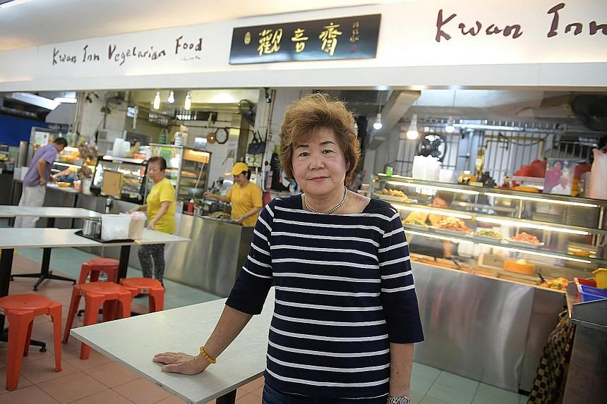 Madam Choo Hong Eng at the Kwan Inn (Geylang East) Vegetarian Food stall, which has been in operation since 1986. She had made headlines in 2011 when Marina Bay Sands Casino initially declined to pay her the $410,000 she won on its slot machines. She