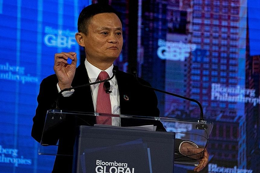 """Alibaba chairman Jack Ma speaking at the Bloomberg Global Business Forum in New York on Wednesday. Addressing fears that """"machines are going to control human beings"""", he said """"people should have confidence""""."""