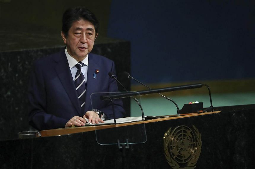 Japanese PM Shinzo Abe addresses the United Nations General Assembly, at the UN headquarters in New York, on Sept 20, 2017.