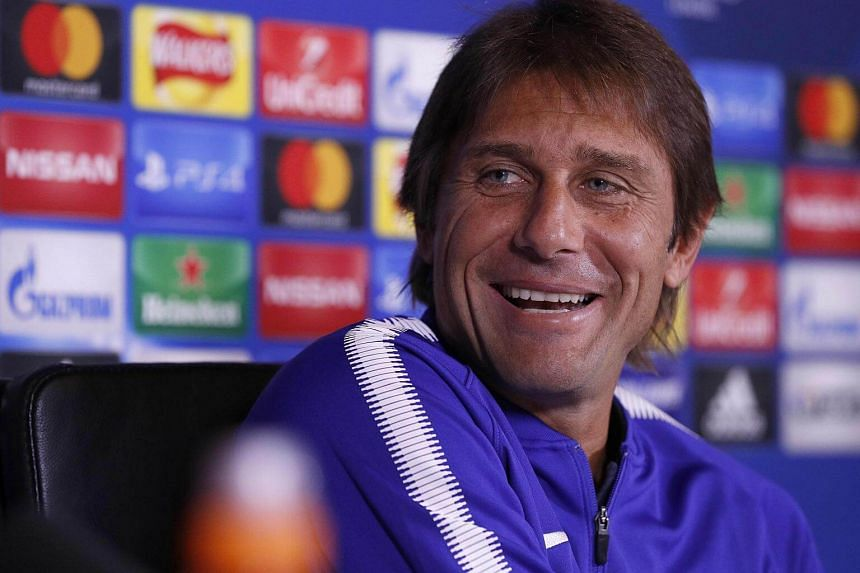 Chelsea's Italian head coach Antonio Conte attends a press conference at Chelsea's Cobham training facility in Stoke D'Abernon, London, on Sept 11, 2017.