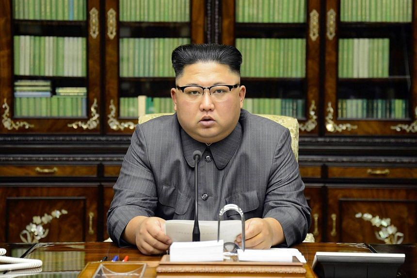 North Korea's leader Kim Jong Un makes a statement regarding US President Donald Trump's speech at the UN general assembly, in this undated photo released by North Korea's Korean Central News Agency (KCNA) in Pyongyang, on Sept 22, 2017.