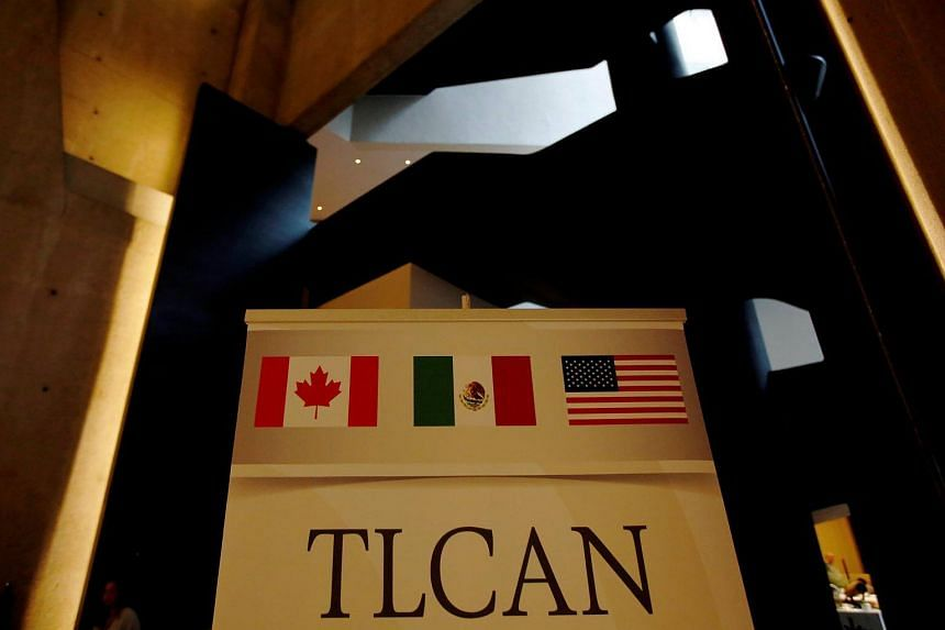 A Nafta banner is pictured where the second round of Nafta talks involving the United States, Mexico and Canada is taking place in Mexico, on Sept 1, 2017.