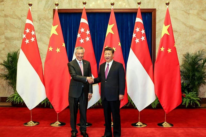 Singapore Prime Minister Lee Hsien Loong and Chinese President Xi Jinping at The Great Hall of the People in Beijing, on Sept 20, 2017.