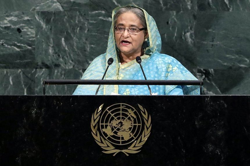 Prime Minister of Bangladesh Sheikh Hasina speaks during the General Debate of the 72nd United Nations General Assembly at UN headquarters in New York, on Sept 21, 2017.