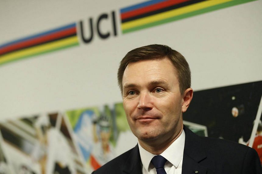 David Lappartient, President of the UCI, attends a news conference in Bergen, Norway, on Sept 21, 2017.