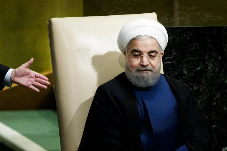 President Hassan Rouhani of Iran sits after speaking during the General Debate of the 72nd United Nations General Assembly at UN headquarters in New York on Sept 20, 2017.