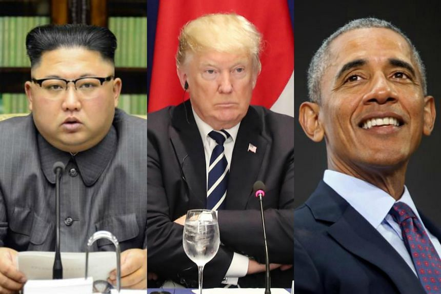 (From left)  North Korean leader Kim Jong Un, US President Donald Trump and Barack Obama have been credited with popularising certain words and making them go viral.