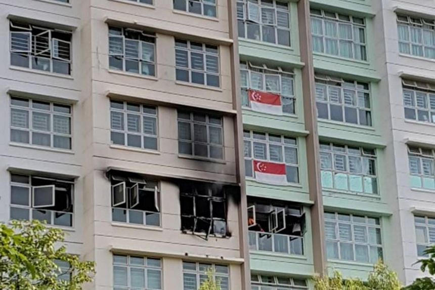 The fire occurred in the living room of a flat in Block 886B, Woodlands Drive 50.
