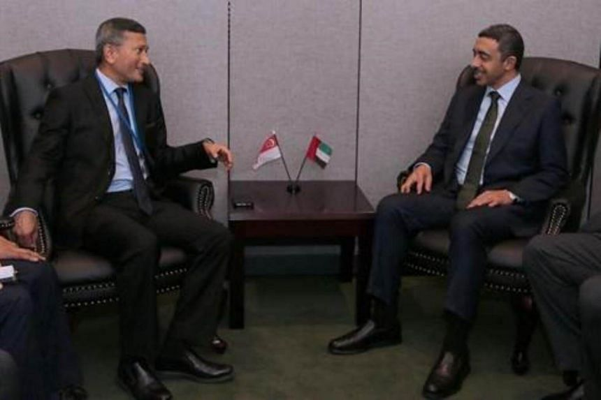 Minister for Foreign Affairs Dr Vivian Balakrishnan meeting the United Arab Emirates Minister of Foreign Affairs and International Cooperation His Highness Sheikh Abdullah Bin Zayed Al Nahyan on the sidelines of the 72nd Session of the United Nations