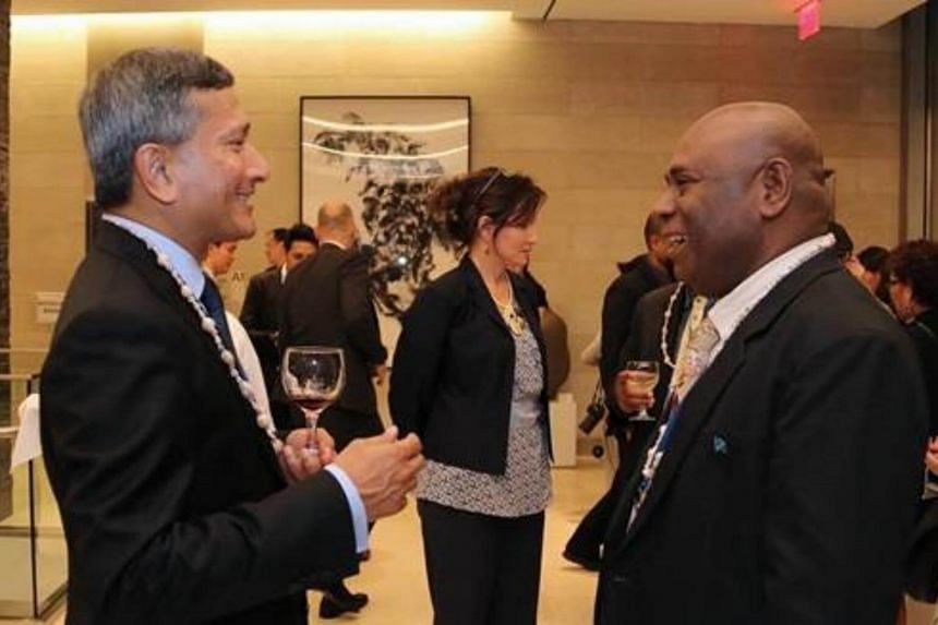 Minister for Foreign Affairs Dr Vivian Balakrishnan meeting Solomon Islands Minister of Culture and Tourism Mr Bartholomew Parapolo on the sidelines of the 72nd Session of the United Nations General Assembly.