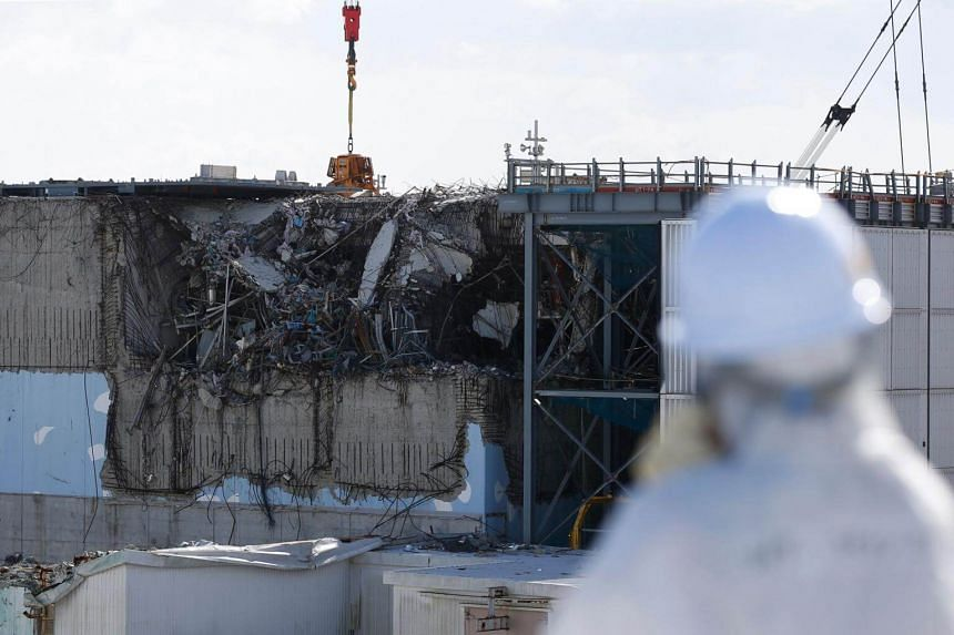 The No. 3 reactor building is shown during a press tour at the Tokyo Electric Power Co's (TEPCO) tsunami-crippled Fukushima Daiichi nuclear power plant in the town of Okuma, Fukushima prefecture on Feb 10, 2016.