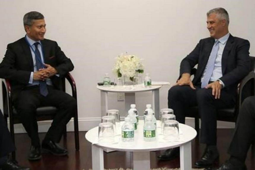 Minister for Foreign Affairs Dr Vivian Balakrishnan meeting Republic of Kosovo President Hashim Thaci on the sidelines of the 72nd Session of the United Nations General Assembly.