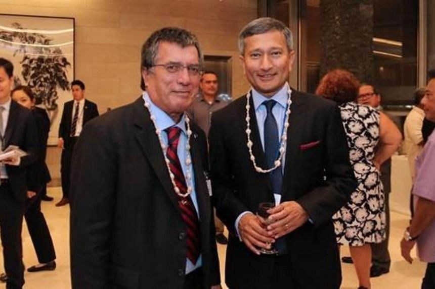 Minister for Foreign Affairs Dr Vivian Balakrishnan meeting Marshall Islands Minister of Foreign Affairs John Silk on the sidelines of the 72nd Session of the United Nations General Assembly.