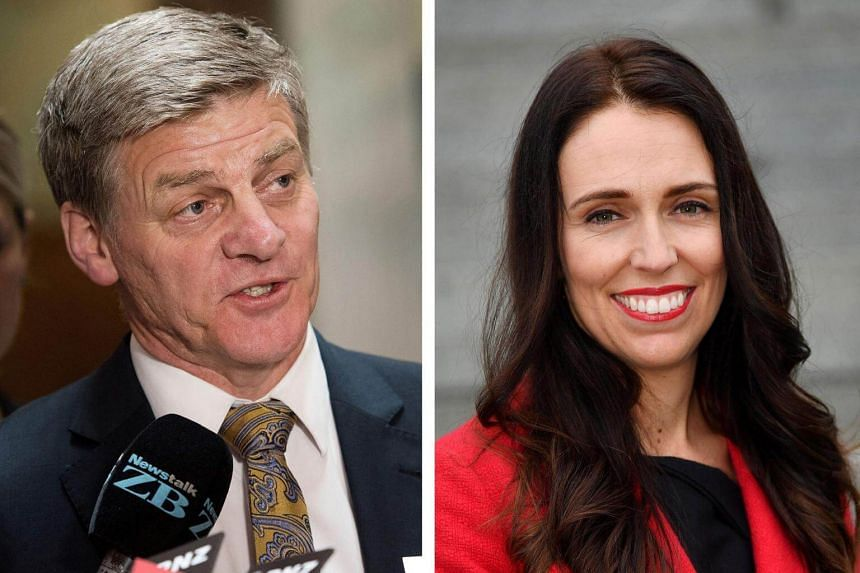 New Zealand's National Party prime minister Bill English (left) and opposition Labour Party leader Jacinda Ardern in Wellington.