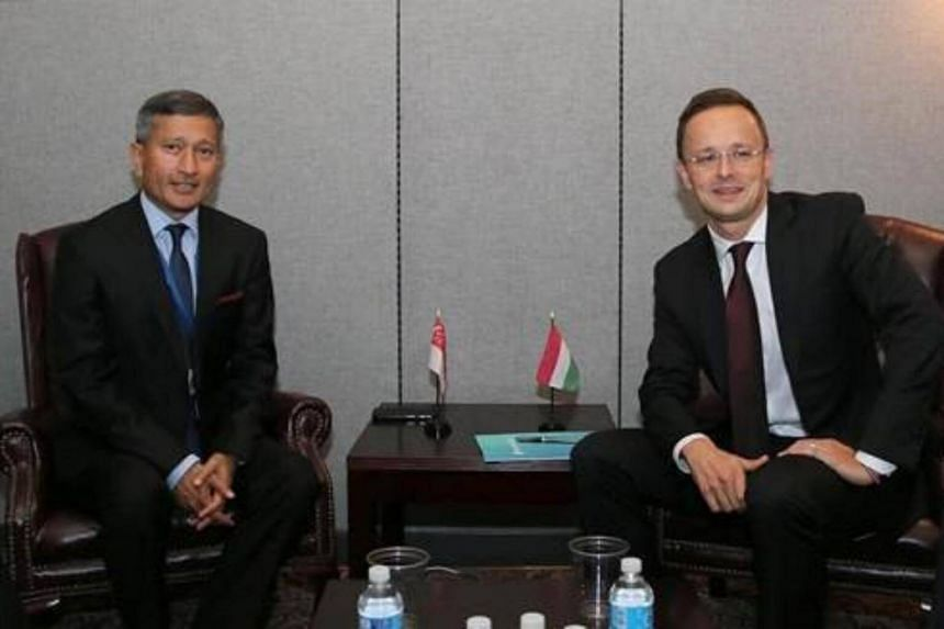 Minister for Foreign Affairs Dr Vivian Balakrishnan meeting Hungary Minister of Foreign Affairs and Trade Peter Szijjarto on the sidelines of the 72nd Session of the United Nations General Assembly.