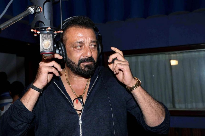 Indian Bollywood actor Sanjay Dutt looks on during the recording of the song 'Ganesh Aarti' for upcoming Hindi film 'Bhoomi' in Mumbai on Aug 21, 2017.