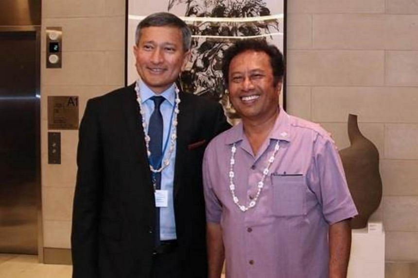 Minister for Foreign Affairs Dr Vivian Balakrishnan meeting Palau President Tommy Remengesau on the sidelines of the 72nd Session of the United Nations General Assembly.