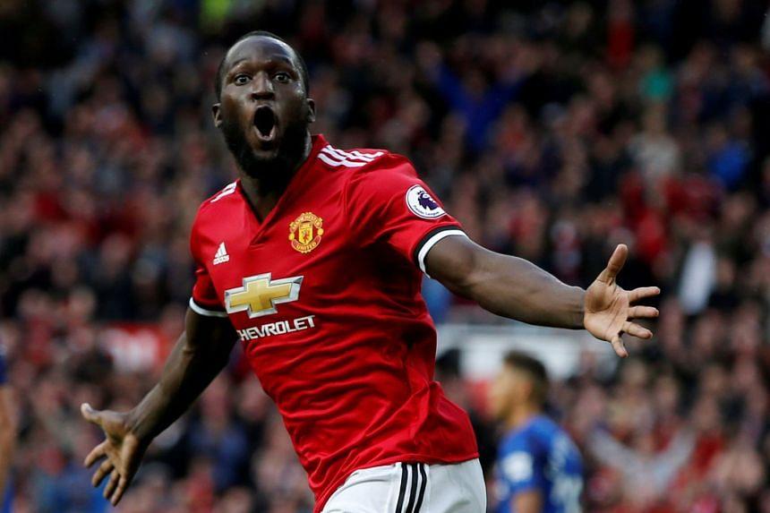 Manchester United's Romelu Lukaku celebrates scoring a goal.
